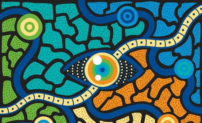 Artwork of an eye in the style of Aboriginal art Five year plan artwork