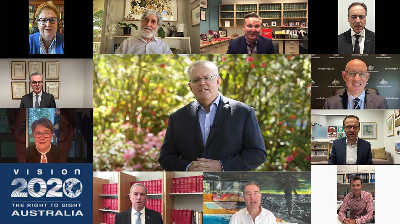 A collage of screenshots from videos showing the faces of Amanda Vanstone, Dr Barry Jones, Chris Bowen, Greg Hunt, Christopher Pyne, Meryl Swanson, Richard Colbeck, Dr James Muecke, Stuart Robert and Adam Bandt. Most of the screenshots are smaller and surround the larger image of Scott Morrison in the centre.
