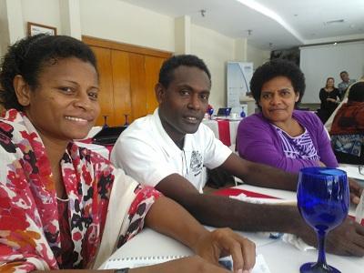 Dr Ana Cama, Oliver Sokana and Vika Vakaloloma at the Pacific Workshop 2012