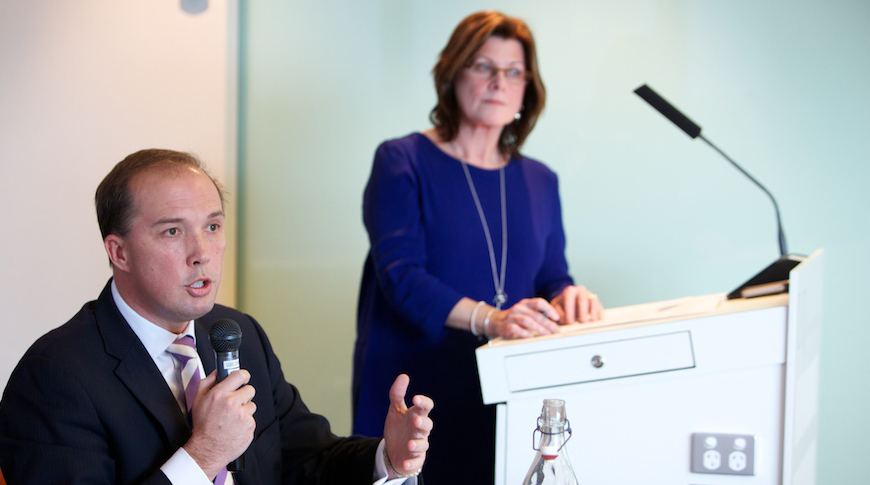 Minister for Health, the Hon Peter Dutton MP addresses the audience at the Vision Summit with the Coalition in 2013.