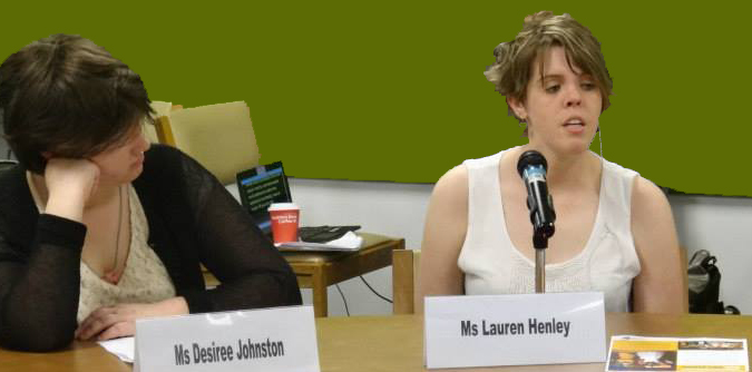 Lauren Henley speaking at the Conference of States Parties. (Desiree Johnston to the left)