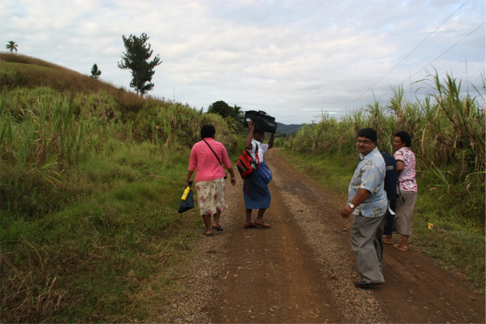 Team conducting surveys in one of the clusters in the sugar cane belt.
