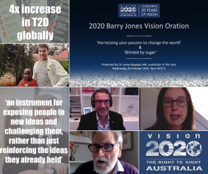 Collage of screenshots of speakers from the Barry Jones Vision Oration, including Maureen O'Keefe, Dr Barry Jones and Dr James Muecke